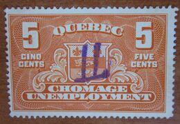 QUEBEC CANADA Fiscali Revenue Tax  5 Cents  - Usato - Fiscali