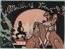 CPM:  Carte En Veloure:  WALT DISNEY:      La Belle Et Le Clochard.      (G360) - Disneyland