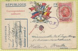 """N° 133 (Albert Ier 10c Carmin) Sur CP Française """"Corr. Militaire"""" """"aux Drapeaux"""" Vers Breda , O Armée Belge En Campagne - 1914-1915 Cruz Roja"""