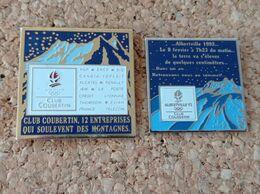LOT DE 2 PINS ALBERTVILLE 1992 CLUB COUBERTIN - Giochi Olimpici