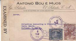 """EL SALVADOR. CIRCULEE """"ANTONIO BOU E HIJOS"""" SAN SALVADOR A TERRE HAUTE, INDIANA, U.S.A. 1944, CENSURE, PAR AVION -LILHU - El Salvador"""