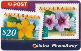 Australia - PhoneAway - Australia Post, Flowers On Stamps, Exp.08.2002, Remote Mem. 20$, Used - Australie