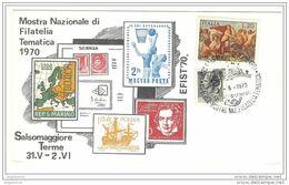 ITALIA - 1970 SALSOMAGGIORE TERME (PR) XV Efist Filatelia Tematica Su Cartolina Speciale (terme) - 1697 - Briefmarkenausstellungen