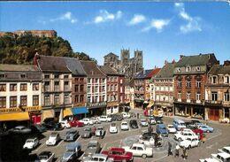 Huy - Gran'Place, Le Fort Et La Collégiale (Edy, Animée Colorisée Oldtimer Brasseur Cafés) - Huy