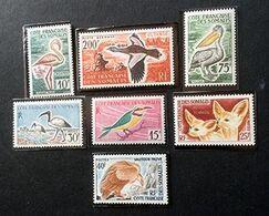 COTE FRANCAISE DES SOMALIS - Oiseaux, Fennecs - Y&T N° 297,298, 301, 303, 308, 309, PA 28 - Côte Française Des Somalis (1894-1967)