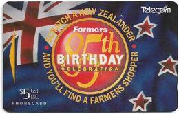 New Zealand - NZT (GPT) - Advertising Cards 1994 Farmers - Celebrations 85 Years - ADCB - 1994, 5$, 26.500ex, Used - Nuova Zelanda