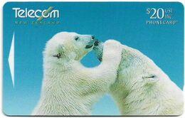 New Zealand - NZT (GPT) - Animals Affection 1997 - Polar Bears - 411DO - 1997, 20$, 50.000ex, Used - Nuova Zelanda