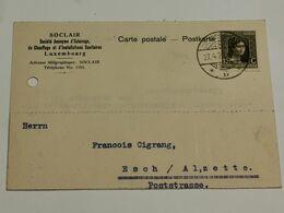 Entier Postaux, Soclair Avec Timbre Marie-Adélaïde Envoyé à Esch-Alzette - Ganzsachen
