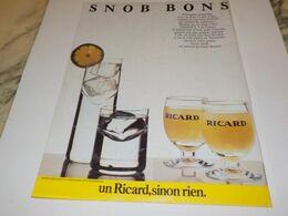 ANCIENNE  PUBLICITE UN RICARD SINON RIEN  1984 - Alcohols