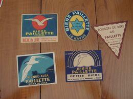 Lot De 5 étiquettes Différentes Bière Paillette Le Havre - Rhum