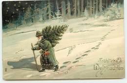 N°15964 - Carte Gaufrée - Fröhliche Weihnachten - Père Noël Portant Un Sapin, Marchant Dans La Nuit - Sonstige