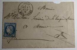 Lettre Affranchie à 25c En étoile De Paris 9P10 Sur N°60a - 1849-1876: Klassik