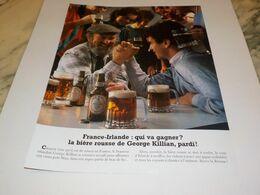 ANCIENNE PUBLICITE FRANCE IRLANDE QUI VA GAGNEZ BIERE GEORGE KILLIAN  1984 - Alcohols