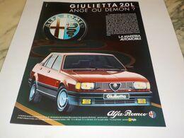 ANCIENNE PUBLICITE GIULIETTA  VOITURE ALFA ROMEO   1982 - Voitures