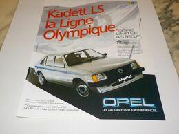 ANCIENNE  PUBLICITE KADETT LS  OPEL 1982 - Voitures