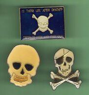 TETES DE MORT *** Lot De 3 Pin's Differents  *** 035 - Pin's & Anstecknadeln