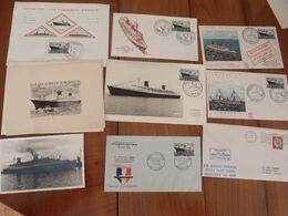 Ensemble De 9 Documents Philatéliques Paquebot France Le Havre 1962 Voyage Inaugural - Foglietti Commemorativi