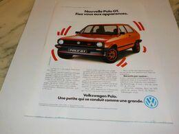 ANCIENNE PUBLICITE  VOITURE VOLKSWAGEN POLO GT 1984 - Voitures