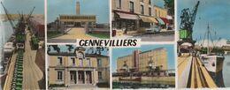 GENNEVILLIERS - PLACE J.GRANDEL, LA MAIRIE ET DIVERS ASPECTS DU PORT DE PARIS - SUPERBE CARTE PHOTO EN COULEUR, MULTIVUE - Gennevilliers