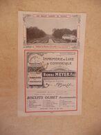 Vieux Papier Publicité Illustrée IMPRIMERIE De LUXE H. MEYER Fils Paris - Biscuit OLIBET   - Photo Jardin Château Bombon - Advertising