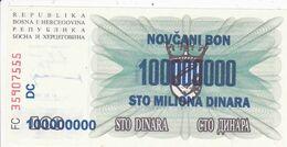 REPUBLIKA BOSNA I HERCEGOVINA  -  100 DIN. --  OVERPRINT  100.000.000 DIN.  --  1993  --  UNC - Bosnia And Herzegovina