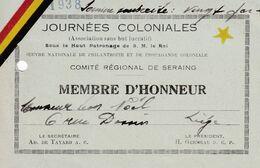 JOURNEES COLONIALES 1938 Membre D'honneur SERAING - 1900 – 1949