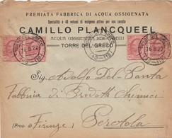 LETTERA 1922 2X10+2X10 DITTA PALNCQUEEL ACQUA OSSIGENATA TIMBRO TORRE DEL GRECO (ZX539 - Marcophilia