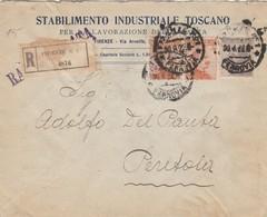 RACCOMANDATA 1922 2X20+60 C. STABILIMENTO INDUSTRIALE TOSCANO TIMBRO FIRENZE (ZX565 - 1900-44 Vittorio Emanuele III