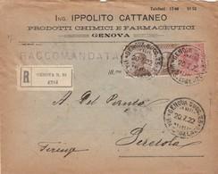 RACCOMANDATA 1922 2X40+10 ING.IPPOLITO CATTANEO TIMBRO GENOVA VIA S.LORENZO (ZX569 - 1900-44 Vittorio Emanuele III
