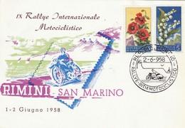 FDC SAN MARINO 1958 RALLYE INTERNAZIONALE MOTOCICLISTICO (ZX695 - FDC
