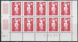 2806 TVP Rouge BRIAT - Demi Bas De Feuille De 10 - RGR 1 Du 6.02.95 Avec Guillochis - 1989-96 Maríanne Du Bicentenaire
