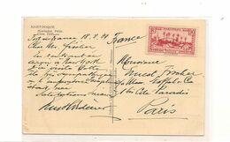 1937 CARTE POSTALE VUE MONTAGNE PELÉE DE FORT DE FRANCE  POUR PARIS - Briefe U. Dokumente