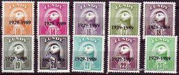 #L88 Great Britain Lundy Stamp 1989 60th Anniversary Lundy Post O/p #252-261 Set - Albatrosse & Sturmvögel