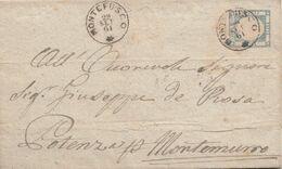 1653- PROVINCE NAPOLETANE-  Involucro Del 1861 Da Montefusco (Dentecane) A Potenza Per Montemurro - Naples