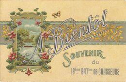 MILITARIA  - à Bientôt - Un Souvenir  Du 18 éme Batallion Des Chasseurs Fontenay Le Comte   124 - Umoristiche