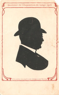 Silhouette Découpée Aux Ciseaux Par Nolden Souvenir De L'Exposition De Liège 1905 (man Met Bolhoed ) - Silhouette - Scissor-type