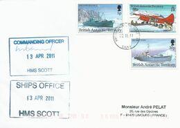 """Lettre """"HSM Scott"""" Avec Timbres Antarctique Britannique N°227, 230 Et 237- Cachet Du 10/11/2011 - Polare Shiffe & Eisbrecher"""