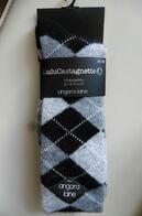 Neuf - Paire De Chaussettes Lulu Castagnette Laine Angora Losanges Noir Gris T 36-38 - Accessories