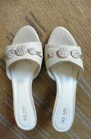 Chaussures Femme Sandales Mules BE ME Cuir Serpent écru Beige Avec Strass T 37 Valeur 79 Euros - Accessories