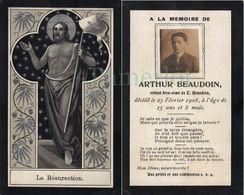 Carte Mortuaire - Avec Vrai Photo Collée, Arthur Beaudoin , 1908, Image Silverprint -  Bouasse Lebel - Imágenes Religiosas