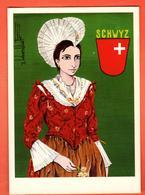 IKD-18 Schwyz Trachten Frau, Von Roger Bhonenblust. Nicht Gelaufen Gross Format - SZ Schwyz