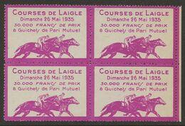 France 1935 Vignette Hippodrome Courses De Chevaux De Laigle Pari Mutuel BLOC Très Beau Sans Charnière - Erinnophilie