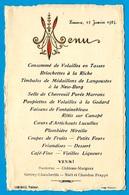 1924 MENU 11 LIMOUX Aude, COMEMALE Traiteur (Noce Alba) Château-Margaux & Gevrey-Chambertin à La Carte + Moet Et Chandon - Menus