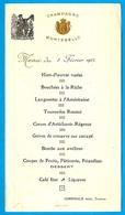 1925 MENU Papier 11 LIMOUX Aude, COMEMALE Ainé, Traiteur * Champagne Montebello à La Carte - Menus
