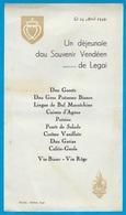 """1949 MENU En Patois 44 LEGE """"Un Déjeunaïe Dau Souvenir Vendéen De Legai"""" - Menus"""