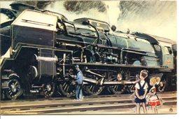 Locomotives Dessinées - Lot De 4 CPSM 9x14 - Comité National De L'Enfance - Illustrateur AB - Matériel