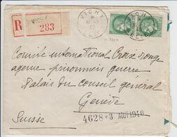 ALLIER ENV 1940 VICHY N°375A PAIRE CERES 2F50 SUR LETTRE RECOMMANDEE => SUISSE - 1921-1960: Periodo Moderno