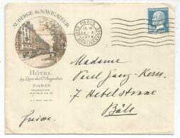 N° 181 ENVELOPPE BELLE ENTETE AUBERGE DU NAVIGATEUR HOTEL 49 QUAI DES Gds AUGUSTINS PARIS GARE MONTPARNASSE 1926 - Marcofilie (Brieven)