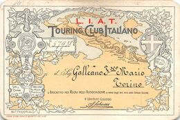"""01951"""" TORINO-TESSERA DI RICONOSCIMENTO-L.I.A.T.-TOURING CLUB ITALIANO-1906/1910-INFORMAZ. PER DOGANE-BICI"""" - Ohne Zuordnung"""