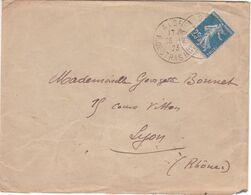 25c SEMEUSE Type II De Carnet Avec Bandelette Blanche Oblitération Algérie 1923 / Lettre Pour La France - 1906-38 Sower - Cameo
